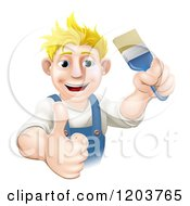 Cartoon Of A Happy Blond Male House Painter Holding A Brush And Thumb Up Royalty Free Vector Clipart