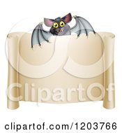 Cartoon Of A Happy Halloween Vampire Bat Over A Scroll Sign Royalty Free Vector Clipart