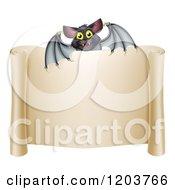 Happy Halloween Vampire Bat Over A Scroll Sign