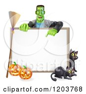 Cartoon Of A Happy Frankenstein With Cats A Broomstick And Halloween Pumpkins Around A White Sign Royalty Free Vector Clipart by AtStockIllustration