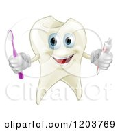 Cartoon Of A Happy Tooth Mascot Holding A Brush And Paste Royalty Free Vector Clipart