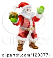 Cartoon Of Santa Holding Out A Gift Box And Waving Royalty Free Vector Clipart