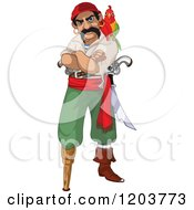 Cartoon Of A Mad Male Pirate With A Parrot Peg Leg And Folded Arms Royalty Free Vector Clipart