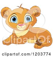 Cartoon Of A Cute Resting Lion Cub Royalty Free Vector Clipart by Pushkin