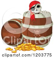 Cartoon Of A Pirate Skeleton Peeking Out Of A Beer Keg Barrel With Coins On The Ground Royalty Free Vector Clipart