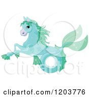 Cartoon Of A Cute Fantastical Seahorse Creature Royalty Free Vector Clipart