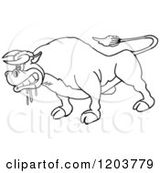 Cartoon Of A Black And White Mad Salivating Bull Royalty Free Vector Clipart by LaffToon