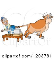 Cartoon Of A Hillbilly With A Cows Tail In A Meat Grinder Royalty Free Vector Clipart by LaffToon
