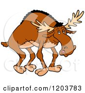 Cartoon Of A Bow Legged Moose Royalty Free Vector Clipart