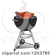 Cartoon Of Bbq Ribs Cooking On A Weber Charcoal Grill Royalty Free Vector Clipart