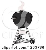Cartoon Of A Black Weber Charcoal Bbq Grill Royalty Free Vector Clipart