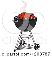 Cartoon Of Barbeque Ribs Cooking On A Weber Charcoal Grill Royalty Free Vector Clipart