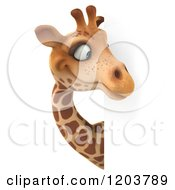 Clipart Of A 3d Happy Giraffe Looking Around A Sign Royalty Free CGI Illustration