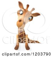 Clipart Of A 3d Giraffe Looking Down At A Sign Royalty Free CGI Illustration