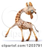 Clipart Of A 3d Happy Giraffe Tilting His Head Back Royalty Free CGI Illustration