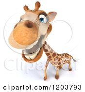 Clipart Of A 3d Happy Giraffe Smiling Royalty Free CGI Illustration
