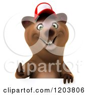 Clipart Of A 3d Happy Bear Mascot Wearing A Hat And Holding A Thumb Up Over A Sign Royalty Free CGI Illustration