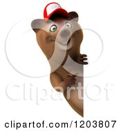 Clipart Of A 3d Happy Bear Mascot Wearing A Hat And Pointing To A Sign Royalty Free CGI Illustration