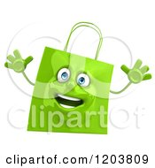 Clipart Of A 3d Happy Green Shopping Bag Jumping Royalty Free CGI Illustration