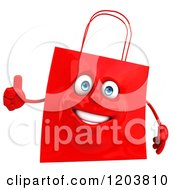 Clipart Of A 3d Happy Red Shopping Bag Holding A Thumb Up Royalty Free CGI Illustration