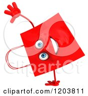Clipart Of A 3d Happy Red Shopping Bag Cartwheeling Royalty Free CGI Illustration