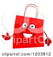 Clipart Of A 3d Happy Red Shopping Bag Presenting Royalty Free CGI Illustration
