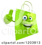 Clipart Of A 3d Happy Green Shopping Bag Holding A Thumb Up Royalty Free CGI Illustration