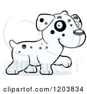 Cartoon Of A Cute Dalmatian Puppy Walking Royalty Free Vector Clipart by Cory Thoman