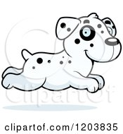 Cartoon Of A Cute Dalmatian Puppy Running Royalty Free Vector Clipart by Cory Thoman