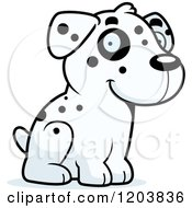 Cartoon Of A Cute Dalmatian Puppy Sitting Royalty Free Vector Clipart