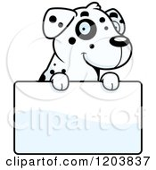 Cartoon Of A Cute Dalmatian Puppy Over A Sign Royalty Free Vector Clipart