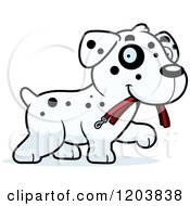 Cartoon Of A Cute Dalmatian Puppy Carrying A Leash Royalty Free Vector Clipart by Cory Thoman