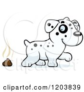 Cartoon Of A Cute Dalmatian Puppy And Pile Of Poop Royalty Free Vector Clipart by Cory Thoman
