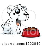 Cartoon Of A Cute Dalmatian Puppy Sitting By Dog Food Royalty Free Vector Clipart by Cory Thoman