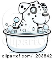 Cartoon Of A Cute Dalmatian Puppy Taking A Bath Royalty Free Vector Clipart by Cory Thoman