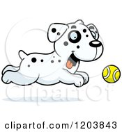 Cartoon Of A Cute Dalmatian Puppy Chasing A Tennis Ball Royalty Free Vector Clipart by Cory Thoman