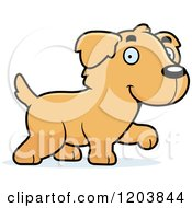 Cartoon Of A Cute Golden Retriever Puppy Walking Royalty Free Vector Clipart by Cory Thoman