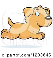 Cartoon Of A Cute Golden Retriever Puppy Running Royalty Free Vector Clipart by Cory Thoman