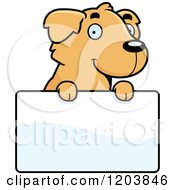 Cartoon Of A Cute Golden Retriever Puppy Over A Sign Royalty Free Vector Clipart by Cory Thoman