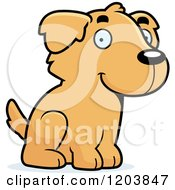 Cartoon Of A Cute Golden Retriever Puppy Sitting Royalty Free Vector Clipart by Cory Thoman
