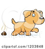 Cartoon Of A Cute Golden Retriever Puppy With Dog Poop Royalty Free Vector Clipart