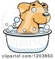 Cartoon Of A Cute Golden Retriever Puppy Taking A Bath Royalty Free Vector Clipart