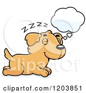 Cartoon Of A Cute Golden Retriever Puppy Dreaming Royalty Free Vector Clipart by Cory Thoman