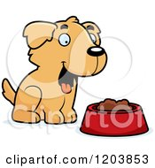 Cartoon Of A Cute Golden Retriever Puppy With Food Royalty Free Vector Clipart
