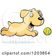 Cartoon Of A Cute Yellow Labrador Puppy Chasing A Tennis Ball Royalty Free Vector Clipart