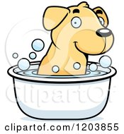 Cartoon Of A Cute Yellow Labrador Puppy Taking A Bath Royalty Free Vector Clipart