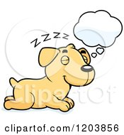 Cartoon Of A Cute Yellow Labrador Puppy Dreaming Royalty Free Vector Clipart