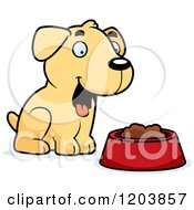 Cartoon Of A Cute Yellow Labrador Puppy Sitting By Dog Food Royalty Free Vector Clipart by Cory Thoman