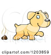Cartoon Of A Cute Yellow Labrador Puppy And Pile Of Poop Royalty Free Vector Clipart