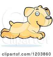 Cartoon Of A Cute Yellow Labrador Puppy Running Royalty Free Vector Clipart